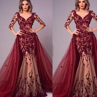 Вино красный Пром платья V шеи кружева аппликации ручной работы цветы со съемным поезд с длинным рукавом тюль темно-красный вечерние платья Платья