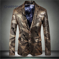 Mens designer suits, high- quality gilded printed fabric, gen...