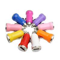150 개 도매 미니 마이크로 USB 자동차 충전기 어댑터 다채로운 총알 자동차 플러그 차량 전원 충전기 어댑터 아이폰 삼성 5 볼트 1A