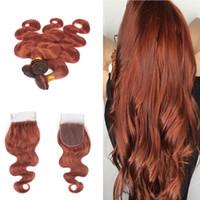 # 33 Dark Auburn Brown Body Wave 3Bundles para el cabello con cierre 4x4 Libre Medio Cierre de tres partes con # 33 Extensiones de cabello de color 4pcs / lote