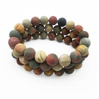 10mm Matte Red Creek Jasper Beads Bracelet,Gemstone Bracelet,Turquoise Round Beads,Elastic Bracelet,Beaded Bracelet Good Luck Bracelet