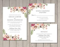 Floral Wedding Invitation, RSVP, Details Card wedding card w...