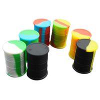 10 adet / grup 11 ml yağ varil şekli Dabs için çeşitli renk silikon konteyner Yuvarlak Şekil Silikon Konteynerler balmumu Silikon Kavanoz Dab konteynerler