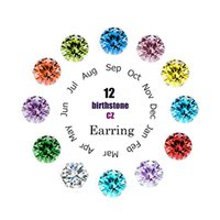 Crystal Stud Earrings For Women Six Claw Rainbow Color Zirco...