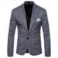 2018 New Large Lattice Wool Blue Check Tweed Custom Men 's Casual Suit Pioneer Retro Cut Slim para hombres Plaid blazer