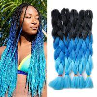 Kanekalon trançando extensões de cabelo três tons ombre azul tranças sintéticas de cabelo xpression jumbo crochet torção cabelo 24 polegadas 100g / pedaço