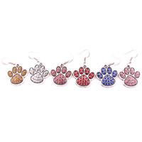 DIY 개 또는 고양이 또는 곰 애완 동물 귀걸이 쥬얼리에 맞는 믹스 컬러 크리스탈 합금 발 발자국의 매력