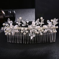 Ivory White Pearls Long Hair Combs Fashion Rhinestone Hairpi...