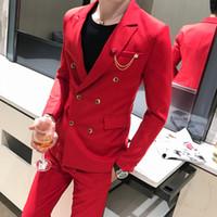 Костюм двубортный буксирный кусок мужчин Slim Fit Business Formance Suits для свадебных костюмов выпускного вечера
