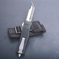 Allvin 블랙 616 대형 크기 자동 전술 나이프 440c 단일 가장자리 헬 블레이드 야외 캠핑 생존 전술 칼 복구 도구
