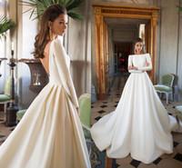 밀라 노바 2018 새로운 웨딩 드레스 A 라인 새틴 등이없는 스윕 기차 긴 소매 웨딩 드레스 BATEAU 목 빈티지 신부 간단한 스타일
