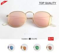 new Retro classical metal sunglasses round style relective p...