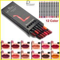 liner maquiagem Lip Pudaier 12 cores kit liner Lip Waterproof Longa Duração batom fosco lápis lipliner definir a composição Sexy