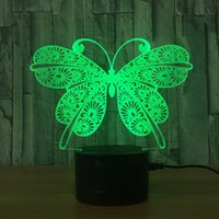3D Night Light Animal Cat Butterfly Changeable Mood Lamp LED...