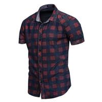 Мужская клетчатая повседневная футболка мужской лето с коротким рукавом рубашка поворотный воротник Tees 100% хлопок