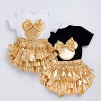 0596835e4b0 Infant Brand Baby Clothing Sets Cotton Baby Girl Short Sleeve Bodysuit+Gold  Ruffles Bloomers+Headband+Shoes Newborn 2018 0901298