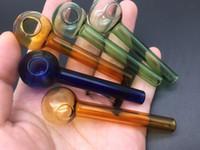 Vorhanden Kleine Glaspfeife Bunte Glaspfeifen 7cm Länge Pyrex-Ölbrenner-Handpfeifen Tabakrauchpfeife blau grün orange