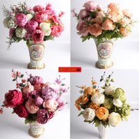 18 Colors 13 Heads Bunch 50cm European Peony Silk Fake Flowe...