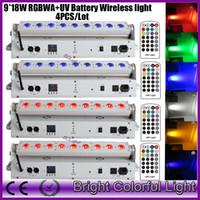 4XLOT 2016 nuevo led alimentado por batería inalámbrico dmx led wash iluminación para eventos con controlador IR 9 * 18W RGBWA UV Uplights