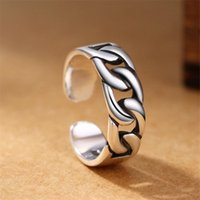 whole saleSimple 925 Sterling Silver Chain Rings Female Vint...