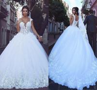 Ballkleid Brautkleider Said Mhamad Kappen-Hülsen-Spitze-Tulle Appliques Brautkleider nach Maß Afrikanische Brautkleider Vstidos DH4144