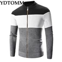 YDTOMM мужской свитер новый Осень Зима высокое качество толстый теплый кардиган мужской молнии полосатые свитера мужчины