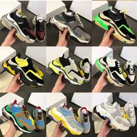 مصمم أحذية الموضة باريس 17FW الثلاثي ق حذاء ثلاثي s عارضة الفاخرة الجد أحذية الرجال النساء البيج الأسود تنس رياضية الاحذية w1
