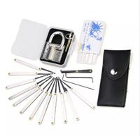 Sıcak Şeffaf Uygulama 7 pin Kilit Asma Kilit + 12 adet / takım Kilit seçtikleri Araçları çilingir + 5 adet kredi kartı kilidi ...