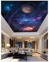 Personalizado Grande Teto Mural Papel De Parede 3D Stereo Sky Universo Espaço Estranho Sala de estar Zenith Mural Foto Mural de Teto Wallpapers decoração