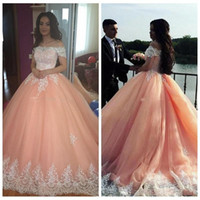 Tulle Ball Gown Off The Shoulder Sleeves Peach Evening Dress...