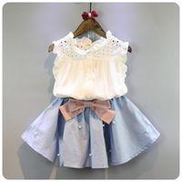 2-8 Jahre Kinder Kleidung für Mädchen Der Bogen Rock und Spitze Top Sommer Anzug Koreanischen Stil Kinderbekleidung Sets Baby Kleinkind Set