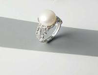Зиркона твердые стерлинговые серебряные кольца Установка кольца, винтажный монтаж в стиле суда, кольцо пустые без жемчуга, ювелирные изделия DIY, подарок DIY