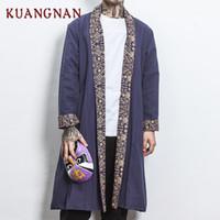 KUANGNAN Estilo Chinês Homens Jaqueta Casaco Longo Vento Disjuntor Homens Negros Jaqueta 5XL Streetwear Japonês Quimono Jaquetas 2018 Outono