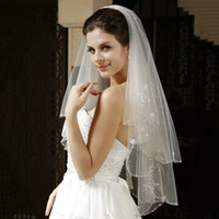 Bling Wedding Veils with Crystal for Bride two layers High Q...