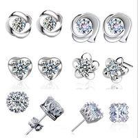 Classique 12 sélection de style Luxe Cubique Zircon Crystal Stud boucles d'oreilles S925 Platine Plaqué Fleur amour coeur Round Square Stud boucles d'oreilles