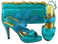 Elegantes hojas de diseño Sky Blue Wemon Shoes con Rhinestone Bombas africanas Match Bolso Set para el vestido MM1068, Talón 10.5cm