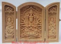 Scatola di calligrafia della Cina della statua di Buddha bosso scolpita a mano squisita