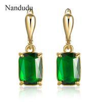 Nandudu Yeni Varış Yeşil Avusturyalı Kristal Damla Küpe Kadınlar Kız Düğün Dangle Küpe Moda Takı Hediye CE234