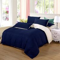 Ab Side Set cama Super King Duvet Cover Set Azul Escuro + Beige 3 / 4pcs Bedclothes Adulto Bed Sheet Set Man edredon Plano