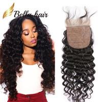 Bella Hair® Pre-Clucked Silk Base Linure البرازيلي العذراء الشعر البشري 4 * 4 الرباط اللون الطبيعي 8A جودة عالية موجة عميقة