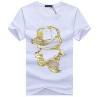 Uomini Bronzing magliette Estate girocollo manica corta oro Europa Russia Stampa fumetto gentiluomo Tees grandi dimensioni cotone di alta qualità top