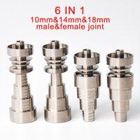 Универсальный Domeless 6IN1 Титановые Гвозди 10 мм 14 мм 18 мм совместное для мужского и женского пола без купола ногтей Dab Rigs Курительные принадлежности бесплатная доставка