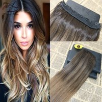 Ombre Balayage Color # 2 Fading zu Farbe # 8 Ein Stück Clip In Human Hair Extensions 5Clips mit Spitze Virgin Human Hair