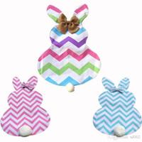 Beliebte Baumwolle Banner Frohe Ostern Thema Kaninchen Cute Bunny Form Hängen Garten Fahnen Mit Haarball Flagge Für Hauptdekorationen 13df ZZ