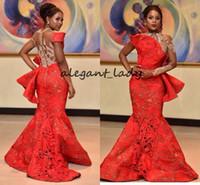 Aso ebi röd spets sjöjungfrun kväll formella klänningar med långärmad 2018 blygsam juvel plus storlek afrikansk nigeriansk trumpet peplum prom klänning
