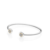 Authentic 925 Sterling Silver Cuff 18K Gold Bangle for Women...