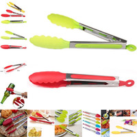 Silicone Kitchen Cooking Salad Serving BBQ Tongs Stainless S...