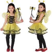Bambini Bambini Halloween Costumi Cosplay per ragazze Animal Bee dress con Hair Sticks Abbigliamento Cosplay per Boys / Girls Stage show