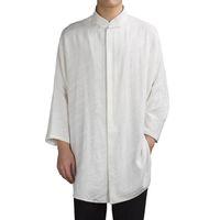 manica lunga gli uomini della sezione lunga del jacquard di 2018 uomini cinese di tela di stile che allinea la camicia arabo camicia casual di alta qualità del vestito di marca