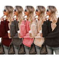 Women Plush Hoodie Sweater Fashion Girls Round Neck Solid Co...